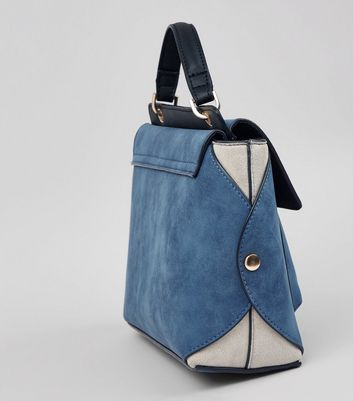 Blue Suedette Top Handle Shoulder Bag New Look