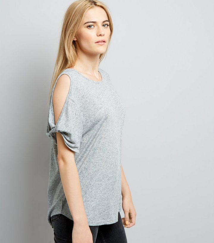 7f807c687f9a5a Grey Twist Cold Shoulder T-Shirt