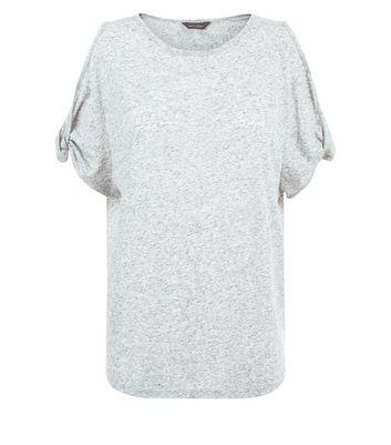 Grey Twist Cold Shoulder T-Shirt New Look