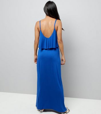 Petite Blue Layered Split Side Maxi Dress New Look