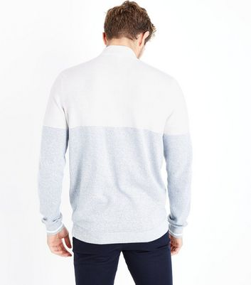 Grey Colour Block Zip Front Jumper New Look