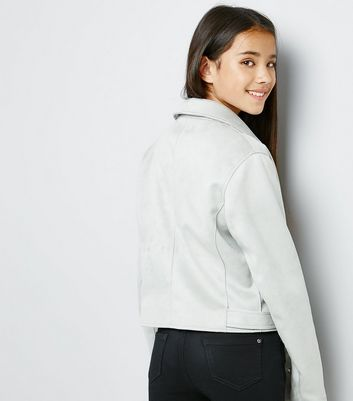Teens Grey Suedette Biker Jacket New Look