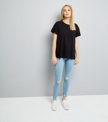 Black Distressed Edge T-Shirt New Look
