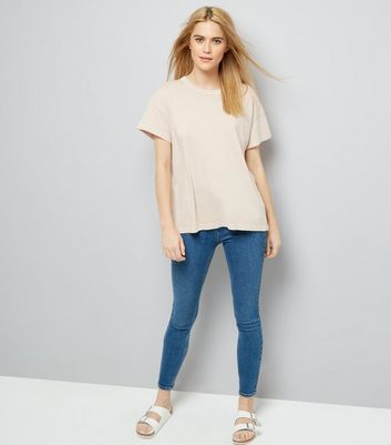 Light Brown Distressed Edge T-Shirt New Look