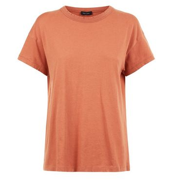 Coral Distressed Edge T-Shirt New Look