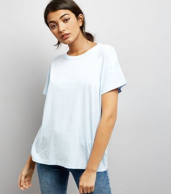 Blue Distressed Edge T-Shirt New Look