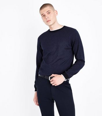 Navy Contrast Trim Jumper New Look
