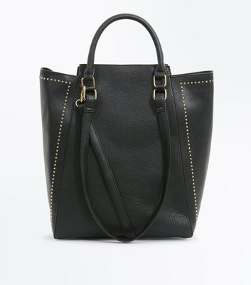 Black Stud Trim Tote Bag New Look