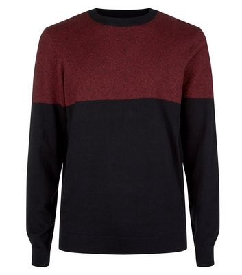 Burgundy Colour Block Crew Neck Jumper New Look