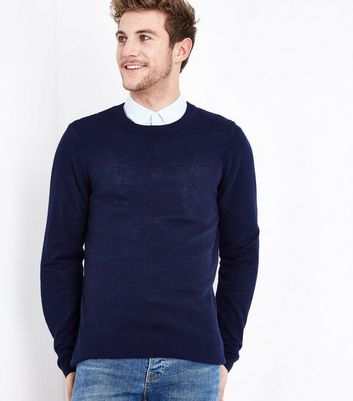 Navy Crew Neck Jumper New Look