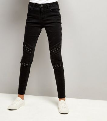 Teens Black Lattice Knee Jeans New Look