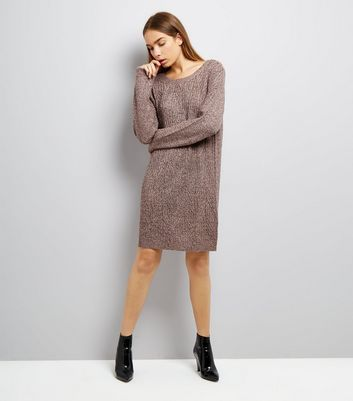 JDY Purple Cable Knit Jumper Dress New Look