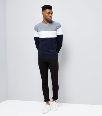 Navy Colour Block Crew Neck Sweater New Look