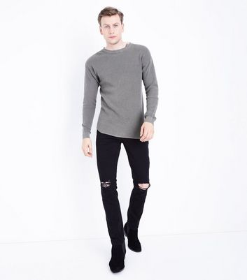 Olive Green Crew Neck Textured Jumper New Look
