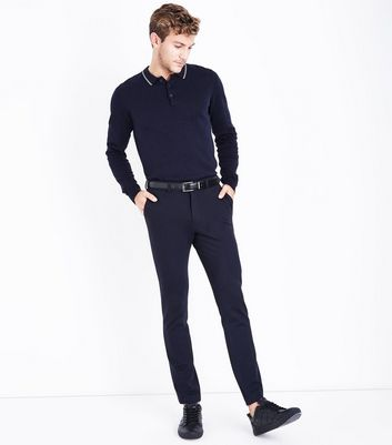 Navy Contrast Collar Long Sleeve Polo T-Shirt New Look