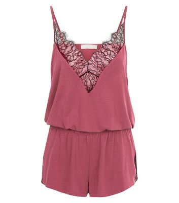 Pink V Neck Lace Trim Cami And Shorts Set New Look