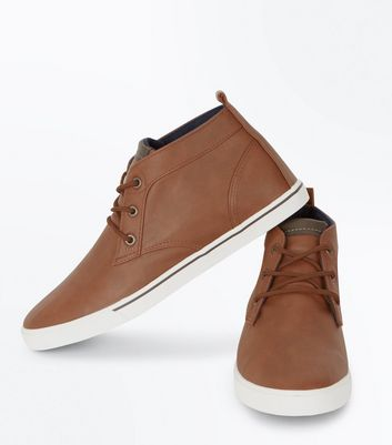 Brown Hi Top Trainers New Look