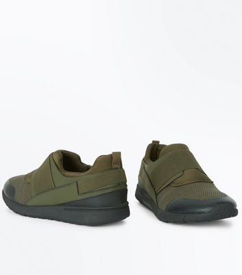 Khaki Textured Elastic Strap Trainers New Look