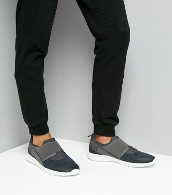 Navy Knitted Elastic Strap Trainers New Look