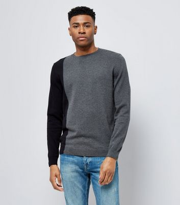 Charcoal Grey Contast Side Jumper New Look