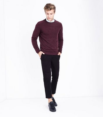 Burgundy Textured Knit Jumper New Look