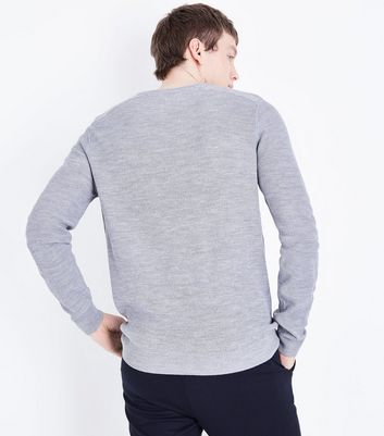 Silver Textured Knit Jumper New Look
