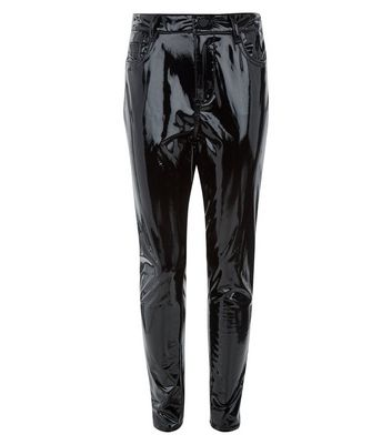 Teens Black High Shine Leather-Look Jeans New Look