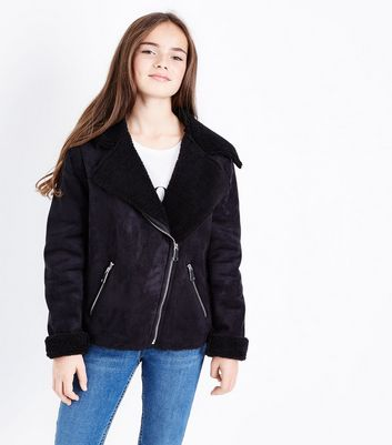 Teens Black Faux Shearling Lined Biker Jacket New Look