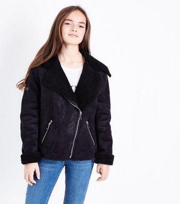 Teens Black Faux Shearling Lined Biker Jacket New Look