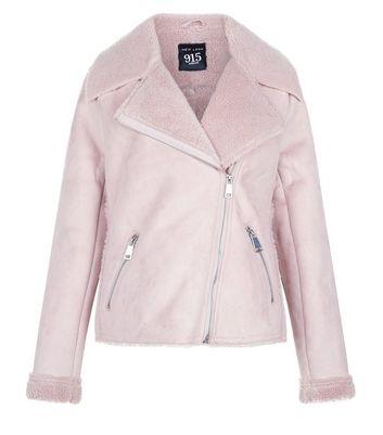 Teens Pink Faux Shearling Lined Biker Jacket New Look