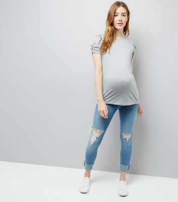 Maternity Grey Puff Sleeve Top New Look