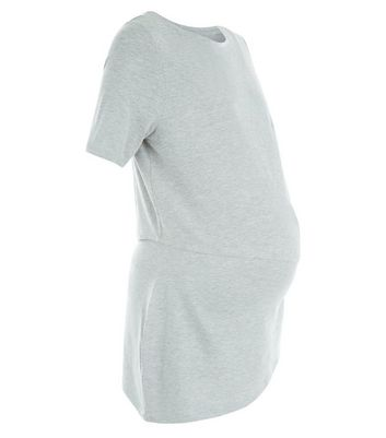 Maternity Grey Asymmetric Double Layer Nursing T-Shirt New Look