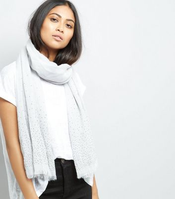 Grey Stud Embellished Scarf New Look
