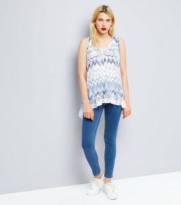 Blue Vanilla Blue Zig Zag Lace Trim Top New Look