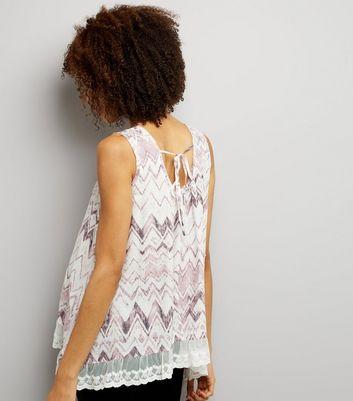 Blue Vanilla Pink Zig Zag Lace Trim Top New Look