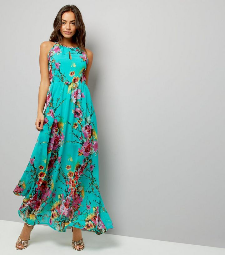 1b91be236338 Blue Vanilla Turquoise Floral Print Maxi Dress | New Look