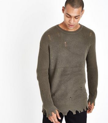 Olive Green Distressed Knit Jumper New Look