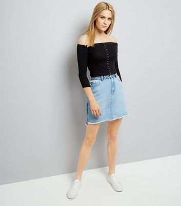 Black Hook and Eye Bardot Neck Top New Look