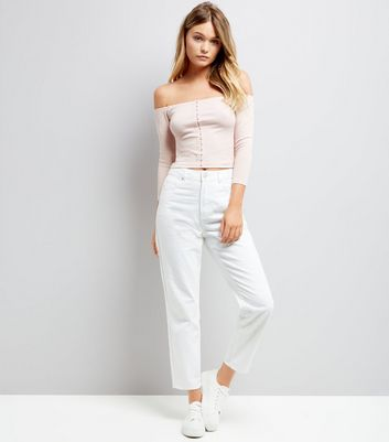 Pink Hook and Eye Bardot Neck Top New Look