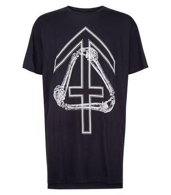 Black Bone and Cross Print T-Shirt New Look