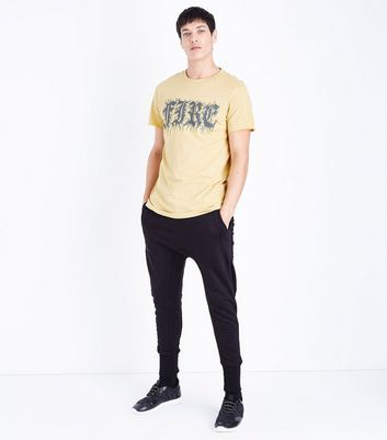 Pale Yellow Fire Print T-Shirt New Look