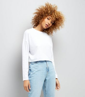 White Raw Hem Long Sleeve Crop Top New Look