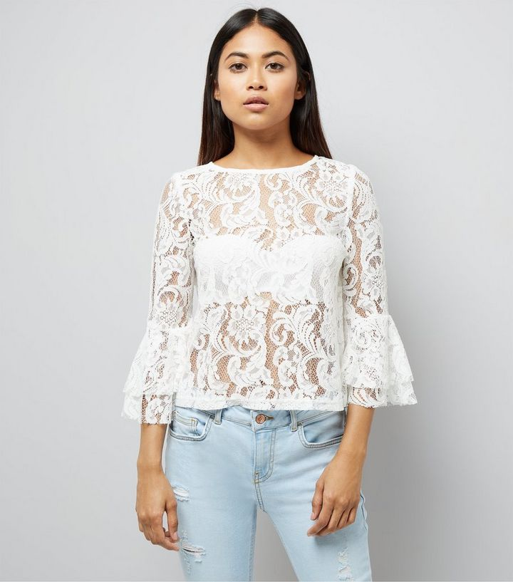 d50371803 Petite White Lace Bell Sleeve Top   New Look
