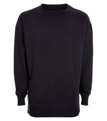 Black Dropped Shoulder Crew Neck Jumper New Look