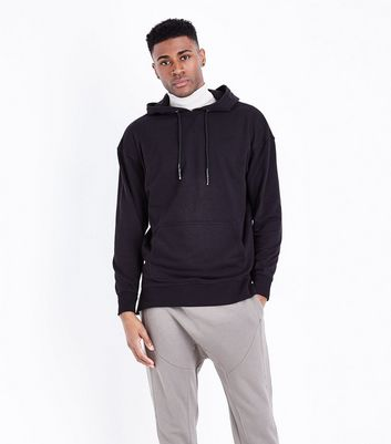 Black Dropped Shoulder Split Hem Hoodie New Look