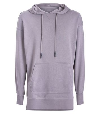 Dark Grey Dropped Shoulder Split Hem Hoodie New Look