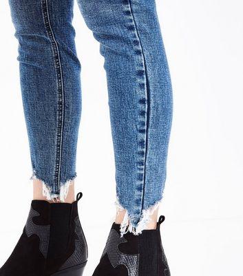 Blue Distressed Hem Skinny Jenna Jeans New Look