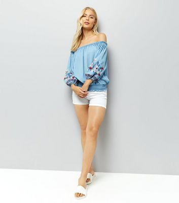 Blue Floral Embroidered Bardot Neck Top New Look