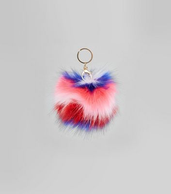 Multicoloured Stripe Faux Fur Pom Pom New Look