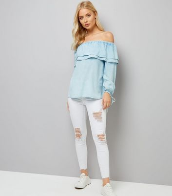 Blue Double Frill Bardot Neck Top New Look